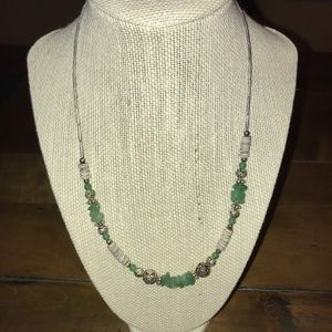 Jewelry - Green Stone/WhiteShell Silver Necklace